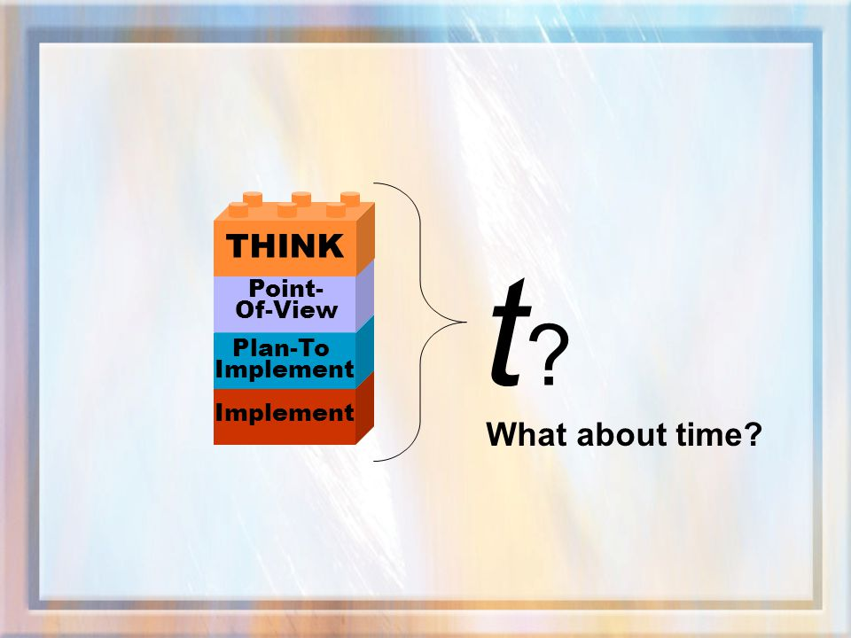 THINK t Point- Of-View Plan-To Implement Implement What about time