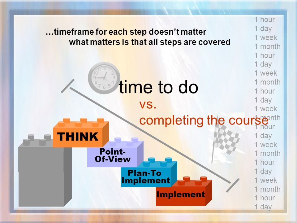 time to do vs. completing the course THINK