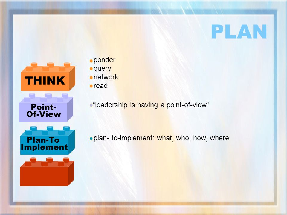 PLAN THINK Point- Of-View Plan-To Implement ponder query network read