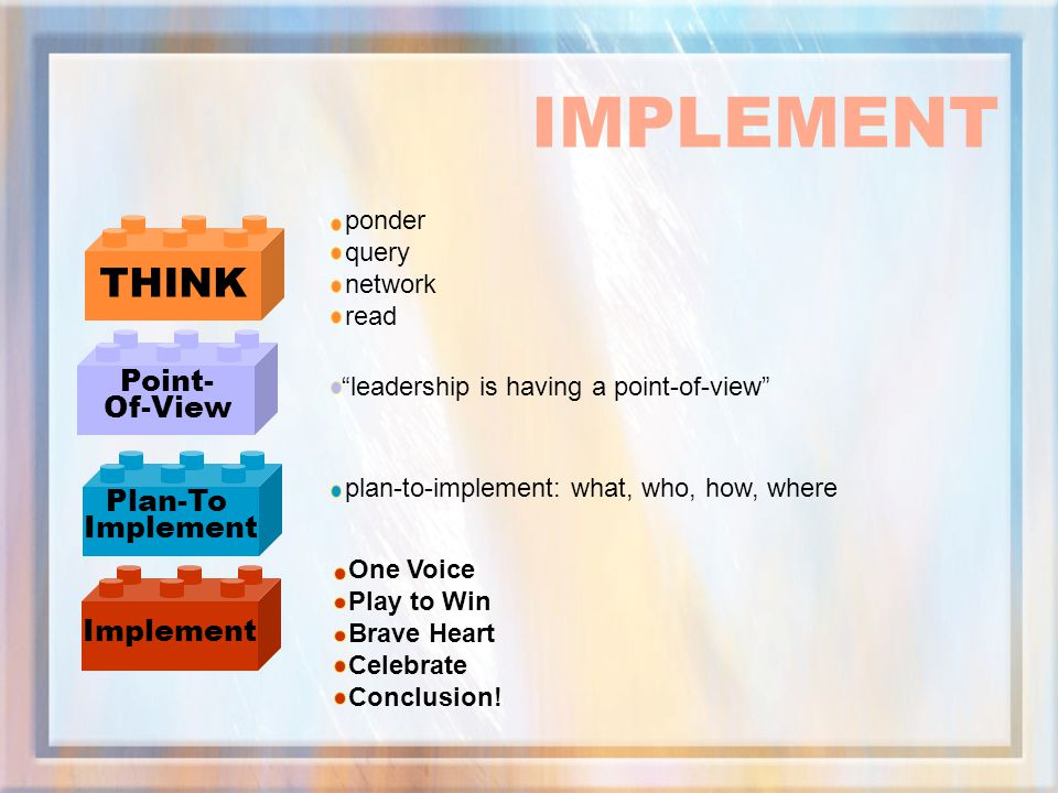 IMPLEMENT THINK Point- Of-View Plan-To Implement Implement ponder