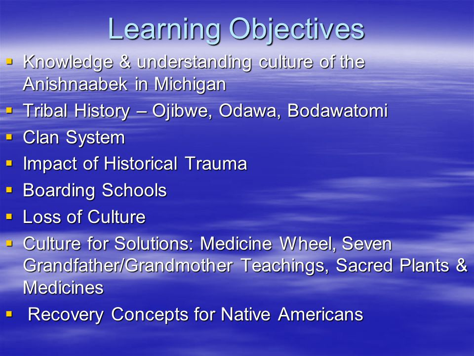 Learning Objectives Knowledge & understanding culture of the Anishnaabek in Michigan. Tribal History – Ojibwe, Odawa, Bodawatomi.