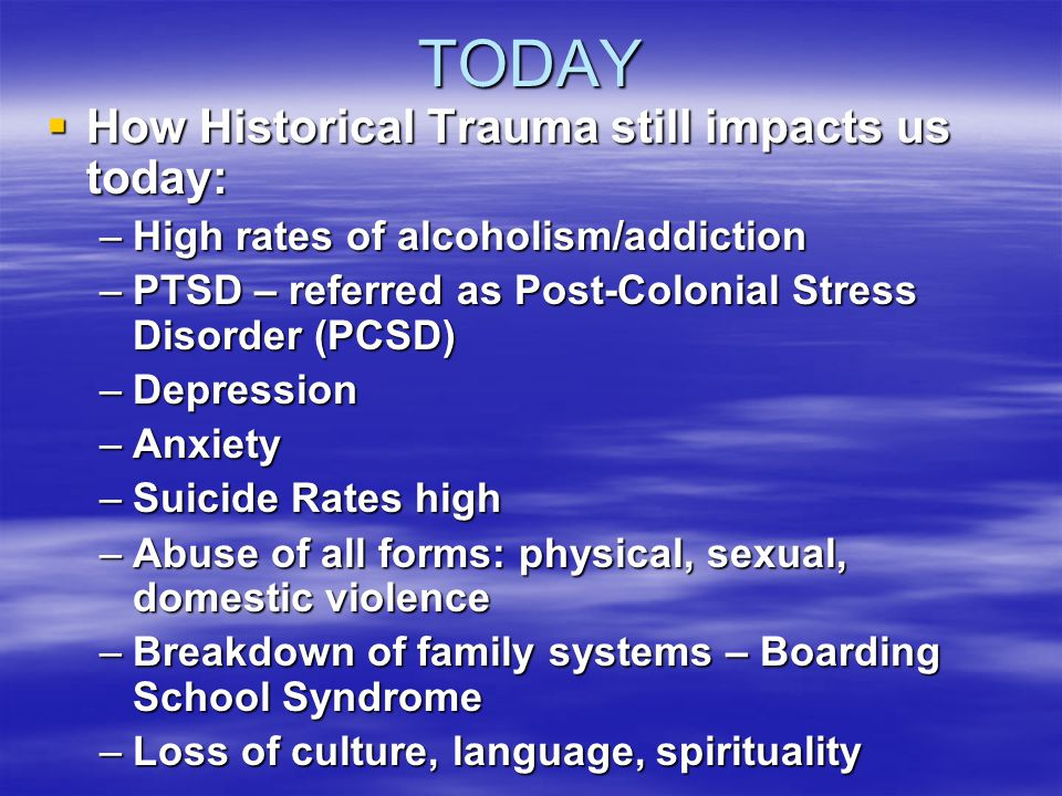 TODAY How Historical Trauma still impacts us today: