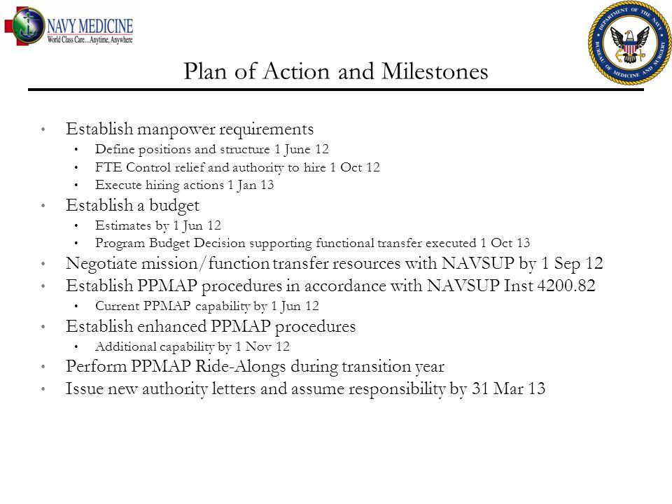 Plan of Action and Milestones