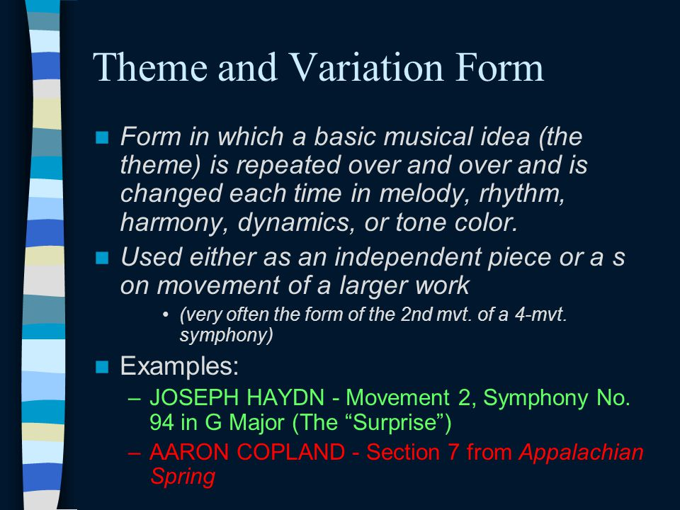 Theme and Variation Form