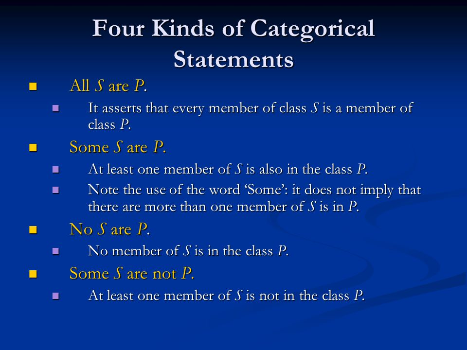 Four Kinds of Categorical Statements