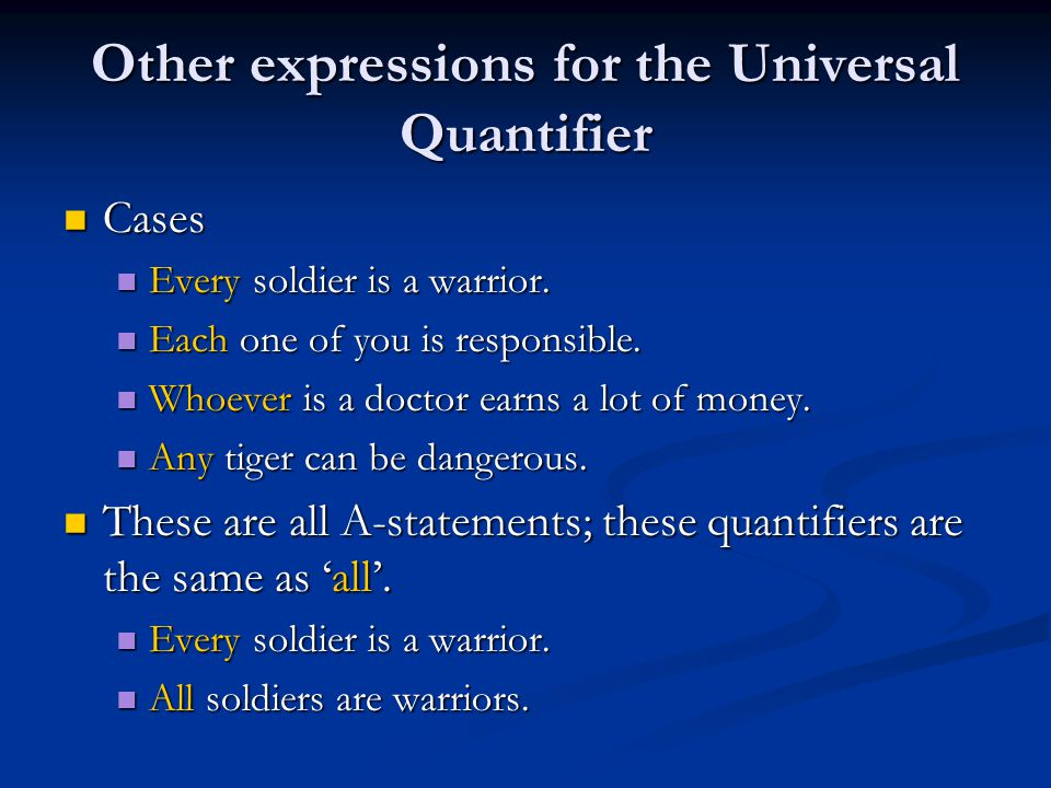 Other expressions for the Universal Quantifier