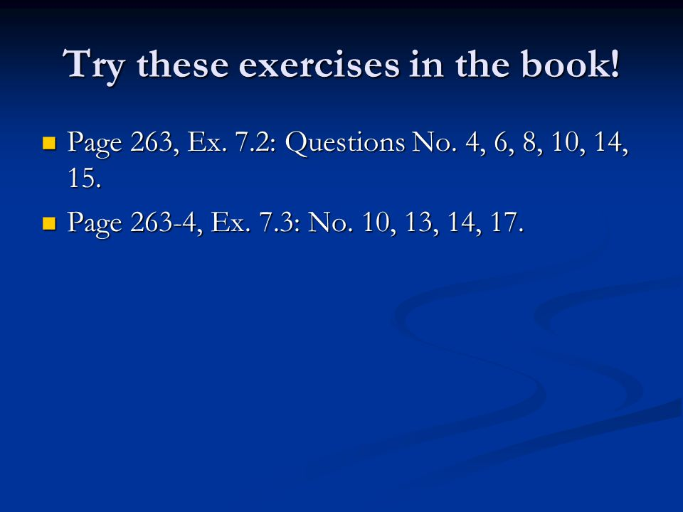 Try these exercises in the book!