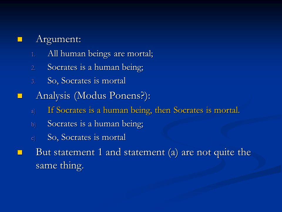 Analysis (Modus Ponens ):
