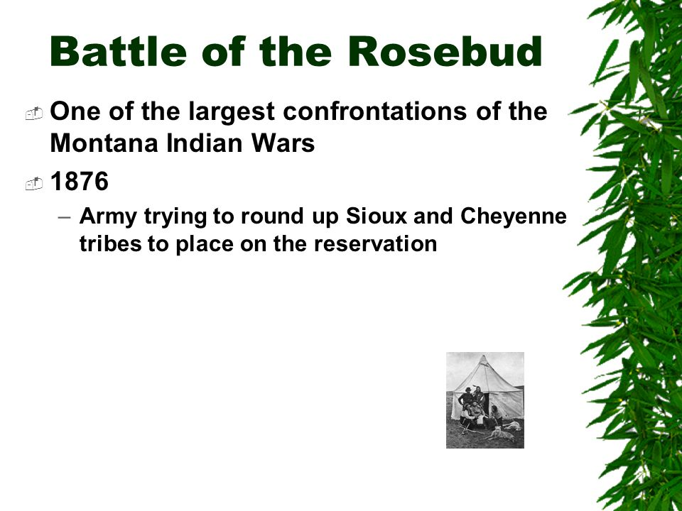 Battle of the Rosebud One of the largest confrontations of the Montana Indian Wars. 1876.