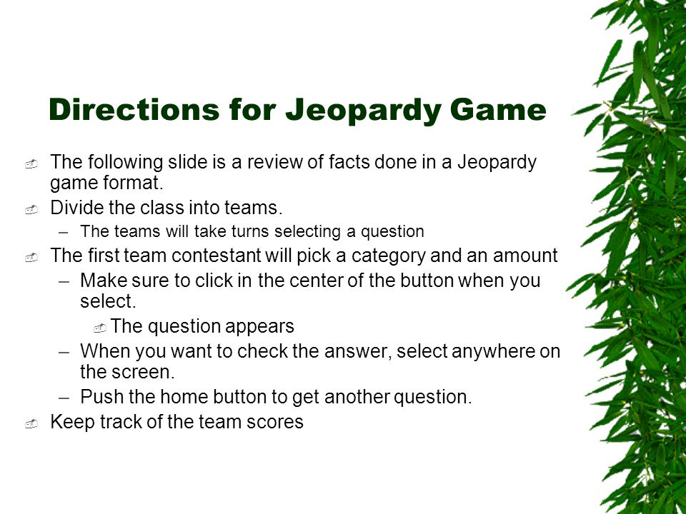 Directions for Jeopardy Game