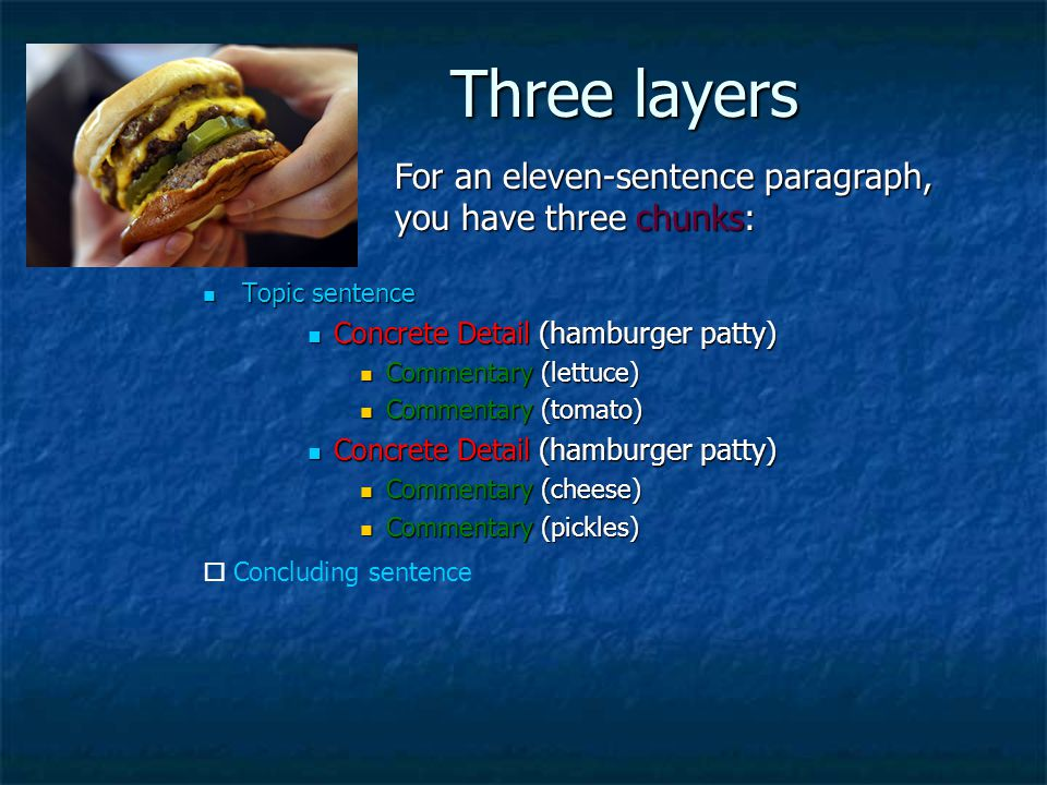 Three layers For an eleven-sentence paragraph, you have three chunks: