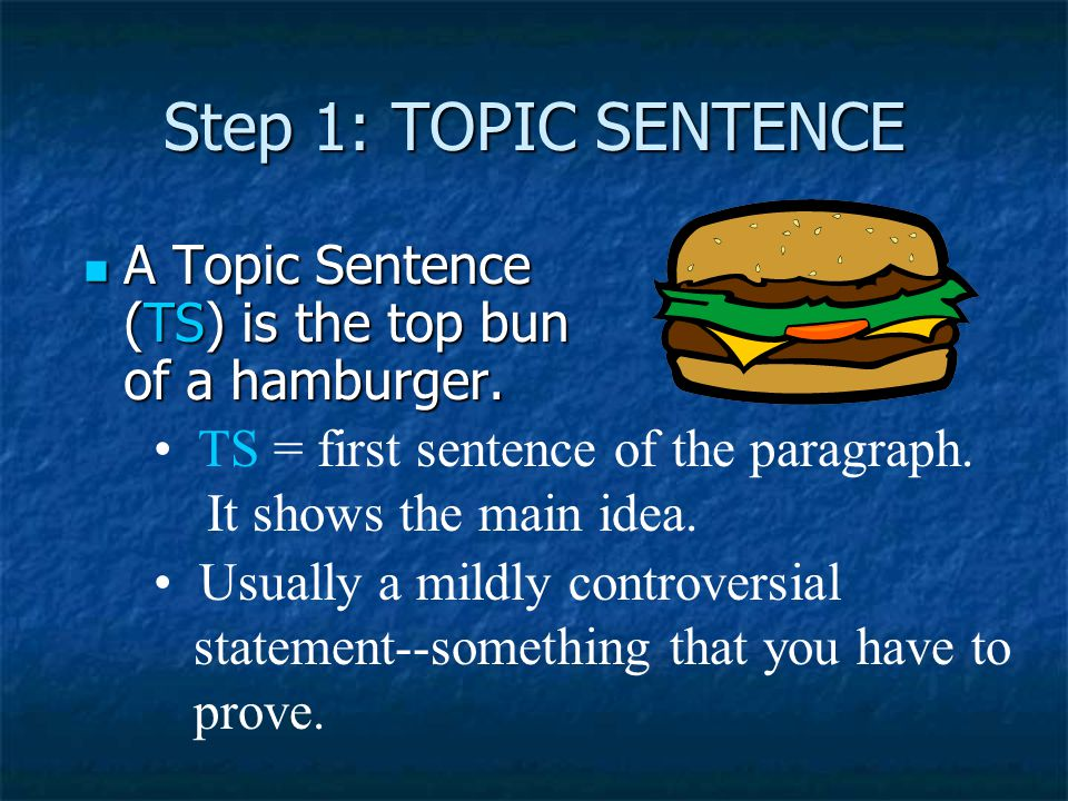 Step 1: TOPIC SENTENCE A Topic Sentence (TS) is the top bun of a hamburger. TS = first sentence of the paragraph.