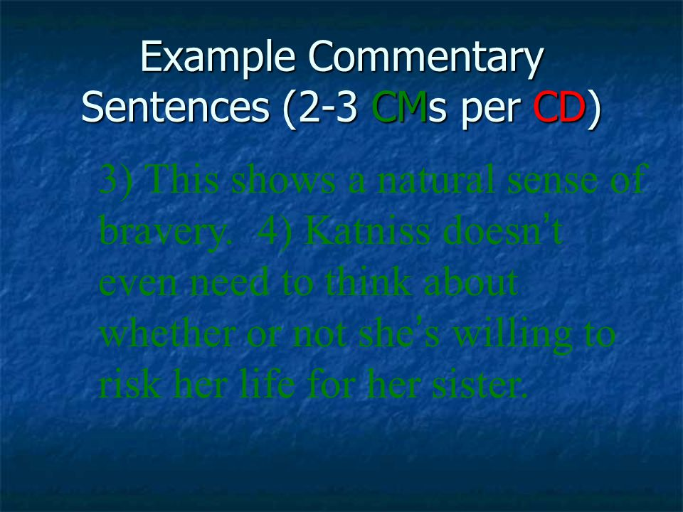 Example Commentary Sentences (2-3 CMs per CD)