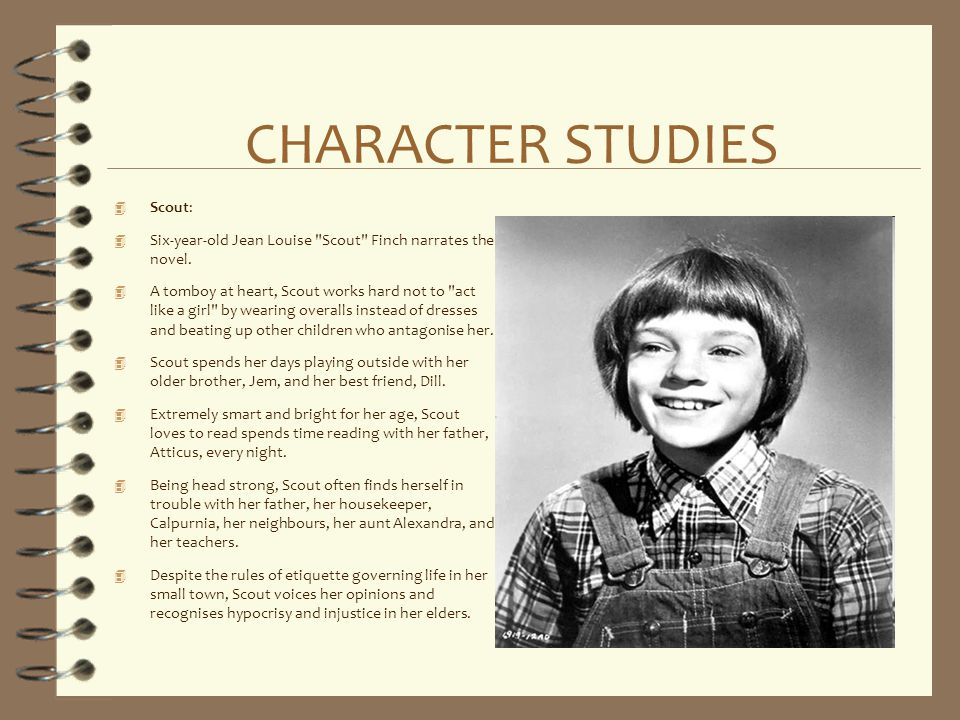 jean louise scout finch character journal How racism affects the characters of to kill a mockingbird  it is reflected upon three of the main characters: jean louise 'scout' finch,.