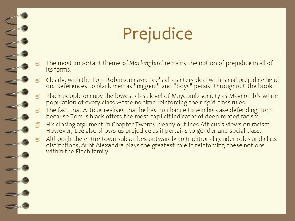Prejudice The most important theme of Mockingbird remains the notion of prejudice in all of its forms.