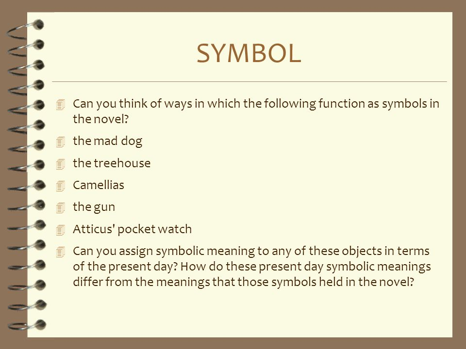 SYMBOL Can you think of ways in which the following function as symbols in the novel the mad dog.