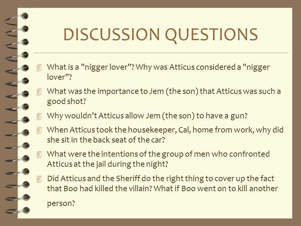 DISCUSSION QUESTIONS What is a nigger lover Why was Atticus considered a nigger lover