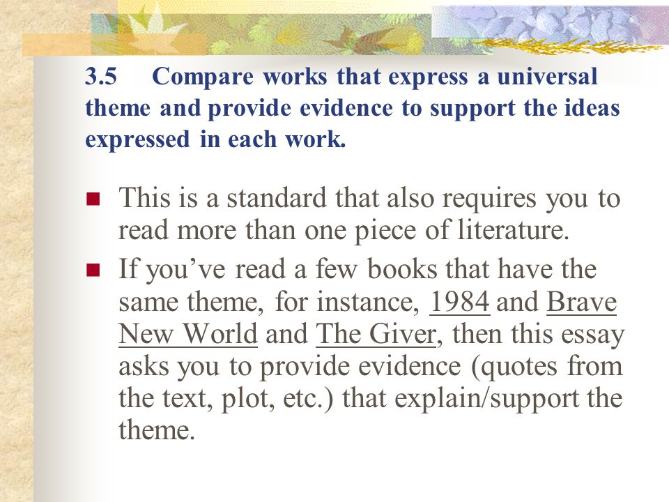 tutorial on how to write a response to literature essay ppt  3 5 compare works that express a universal theme and provide evidence to support the ideas expressed