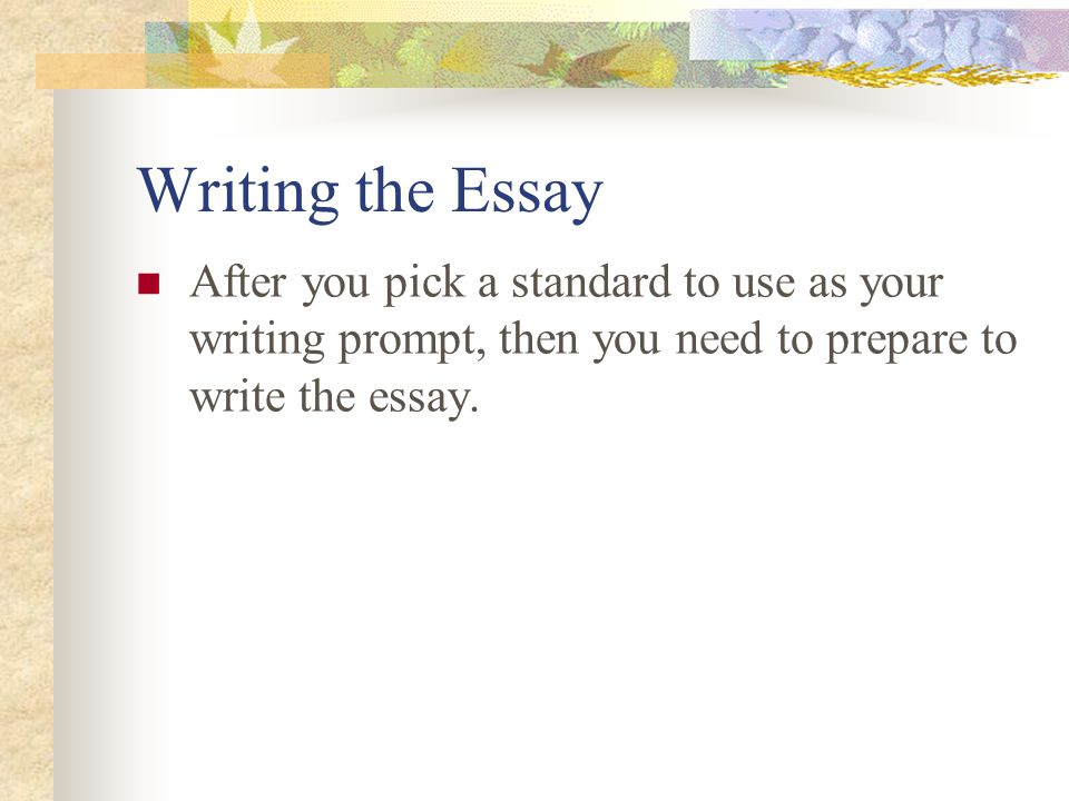 Writing the Essay After you pick a standard to use as your writing prompt, then you need to prepare to write the essay.