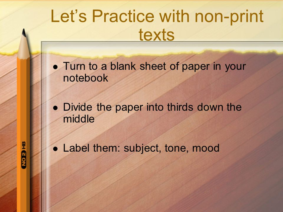 Let's Practice with non-print texts