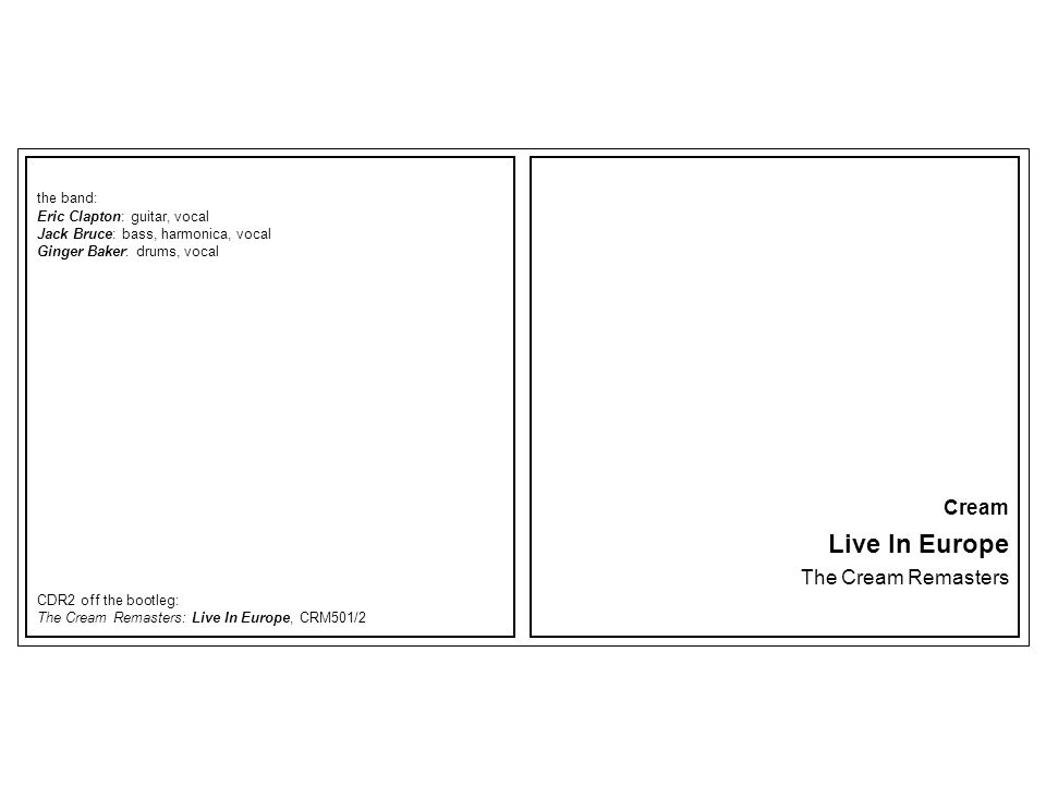 Live In Europe Cream The Cream Remasters the band: