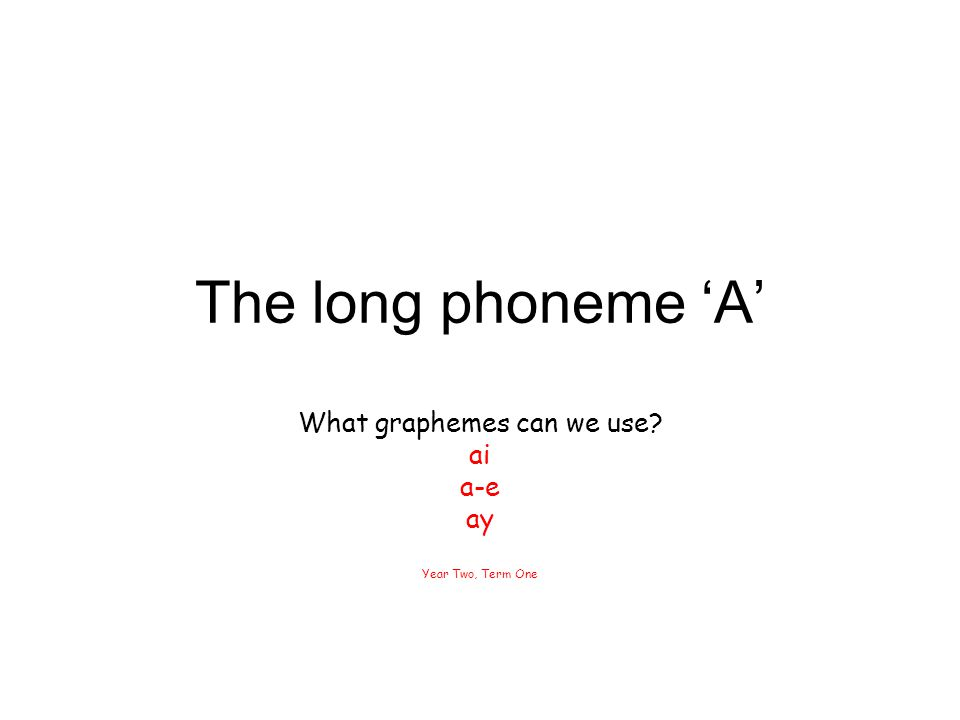 What graphemes can we use ai a-e ay Year Two, Term One