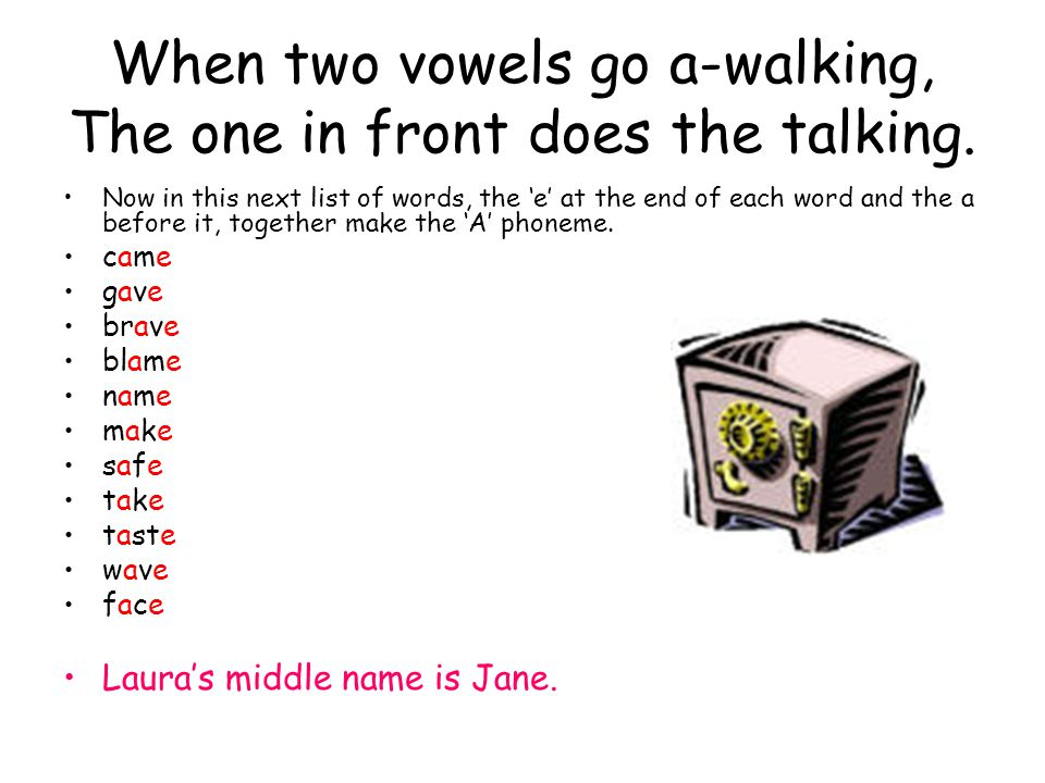 When two vowels go a-walking, The one in front does the talking.