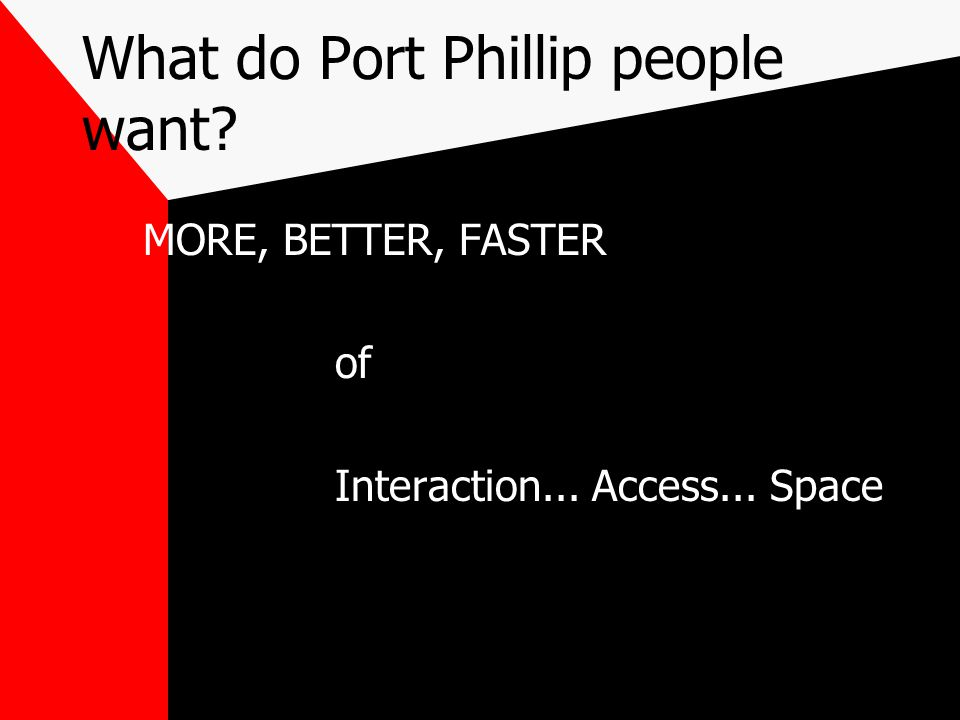 What do Port Phillip people want