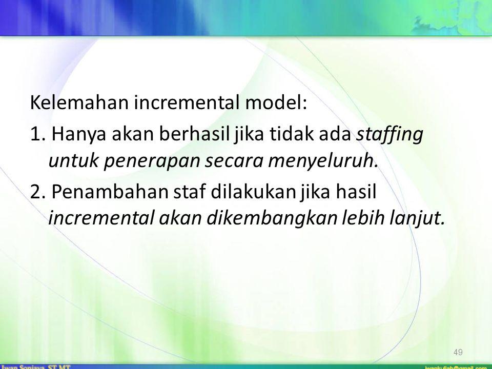 Kelemahan incremental model: