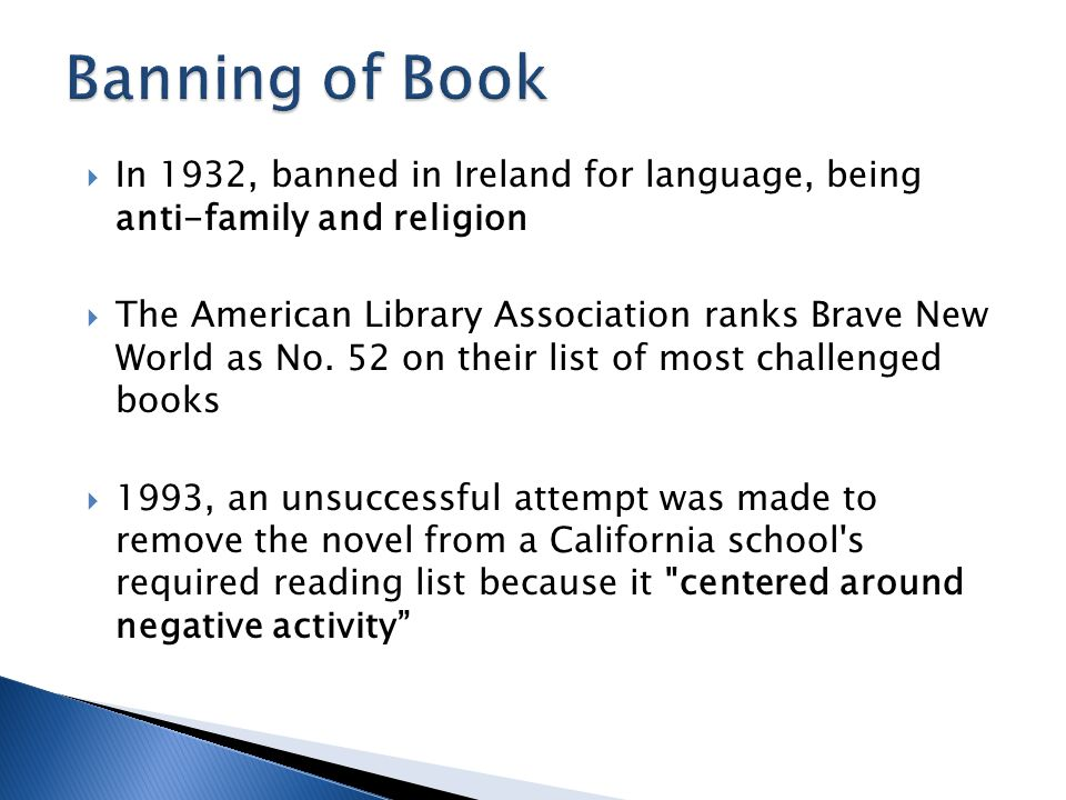 Banning of Book In 1932, banned in Ireland for language, being anti-family and religion.