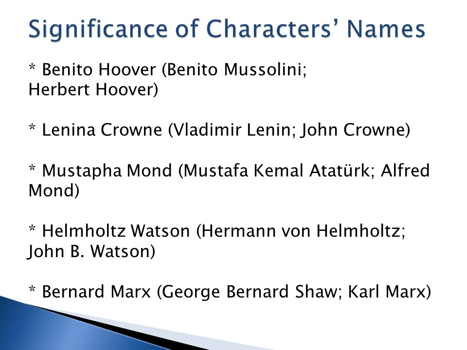 Significance of Characters' Names