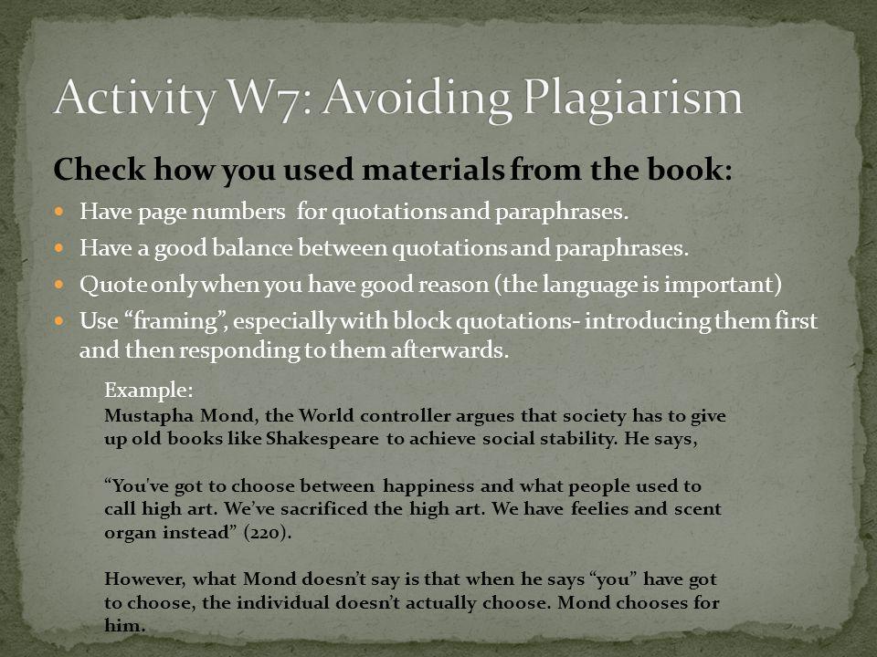 Activity W7: Avoiding Plagiarism