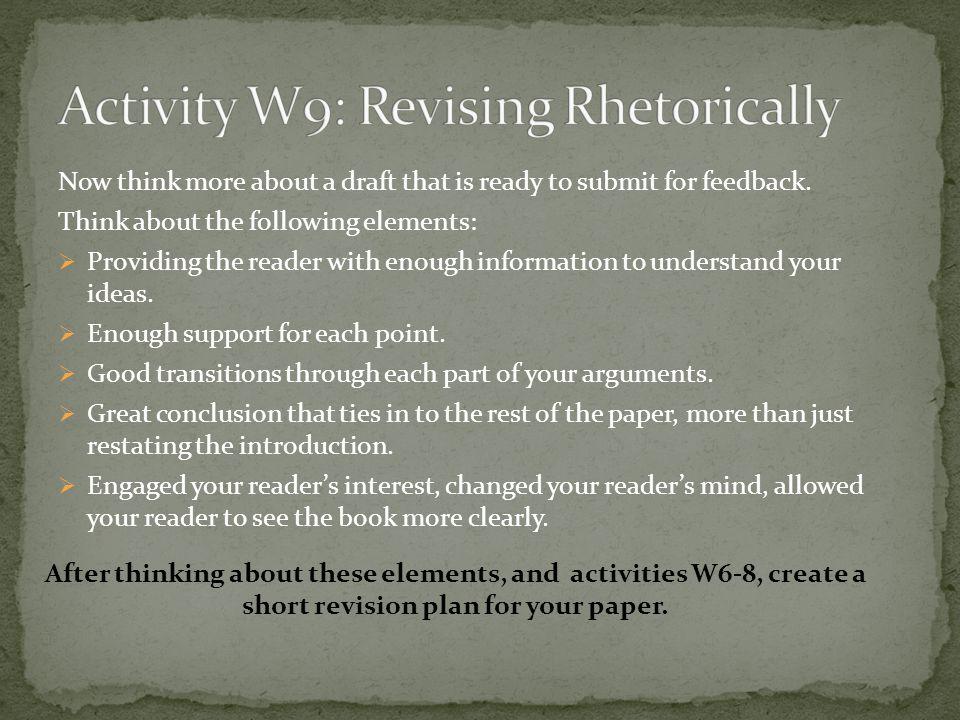 Activity W9: Revising Rhetorically