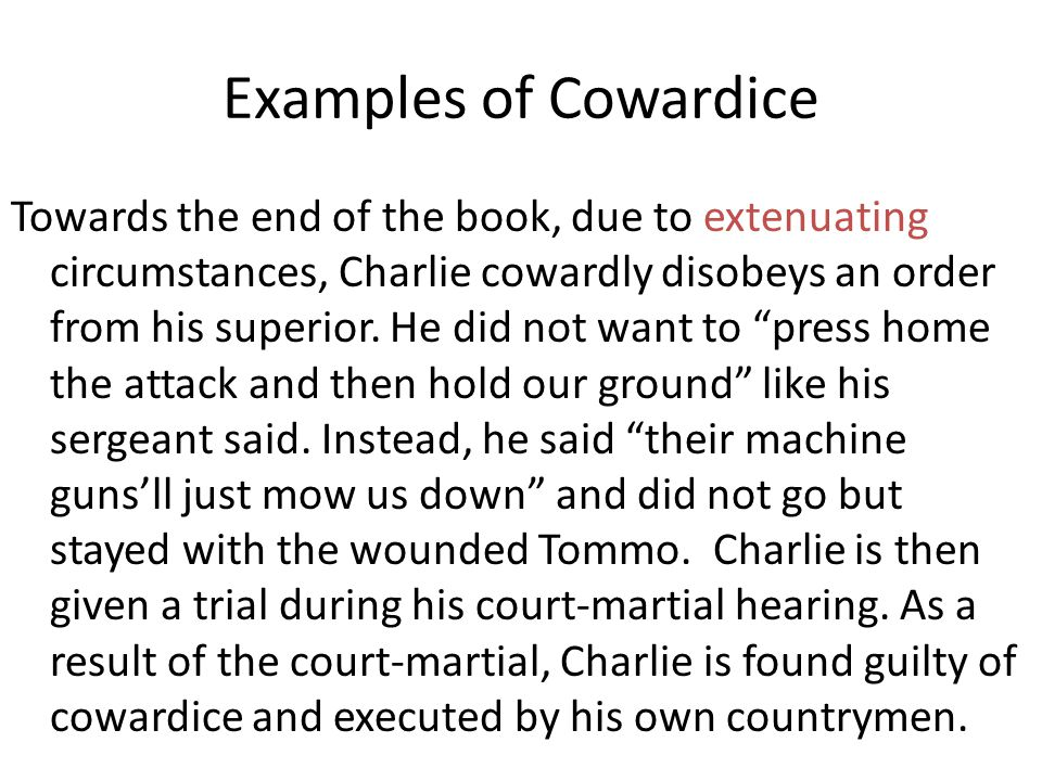 Examples of Cowardice