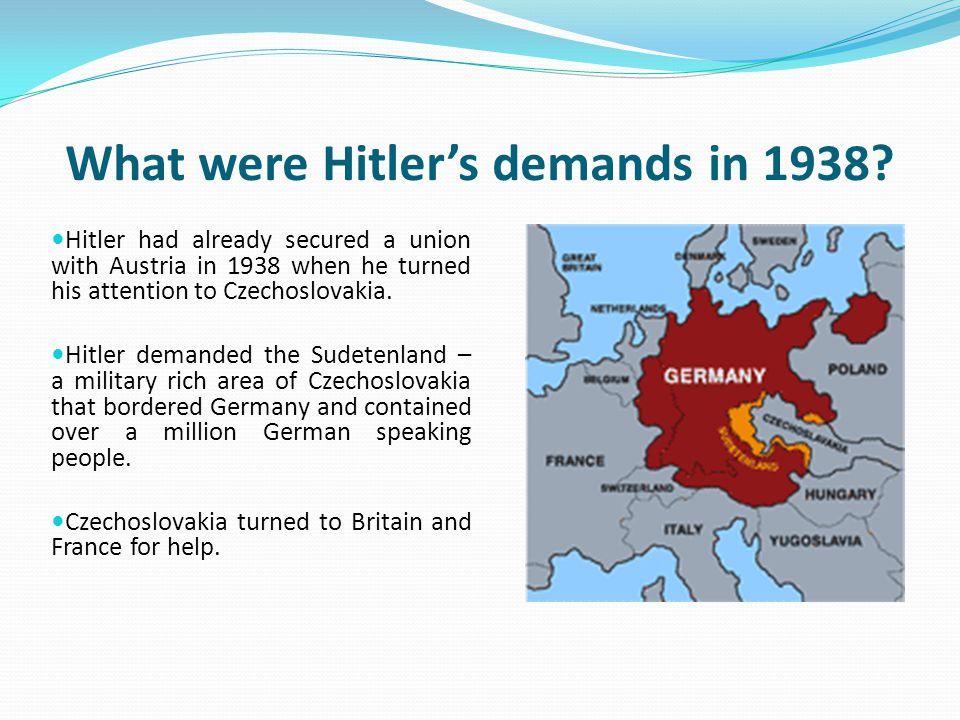 What were Hitler's demands in 1938