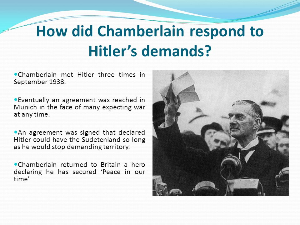 How did Chamberlain respond to Hitler's demands
