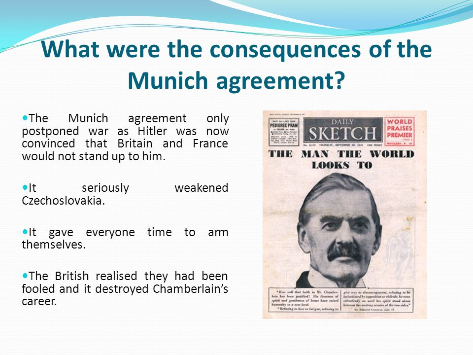 What were the consequences of the Munich agreement
