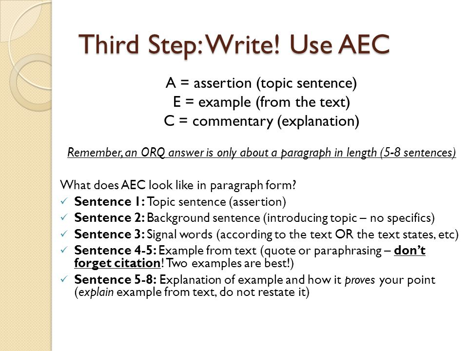 Third Step: Write! Use AEC