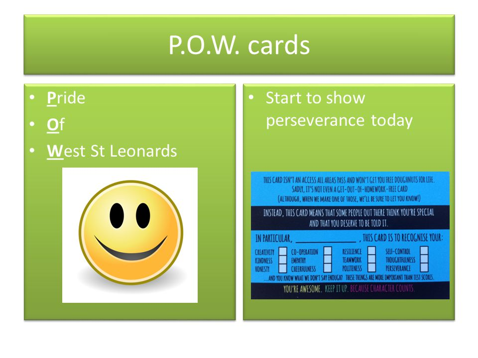P.O.W. cards Pride Of West St Leonards