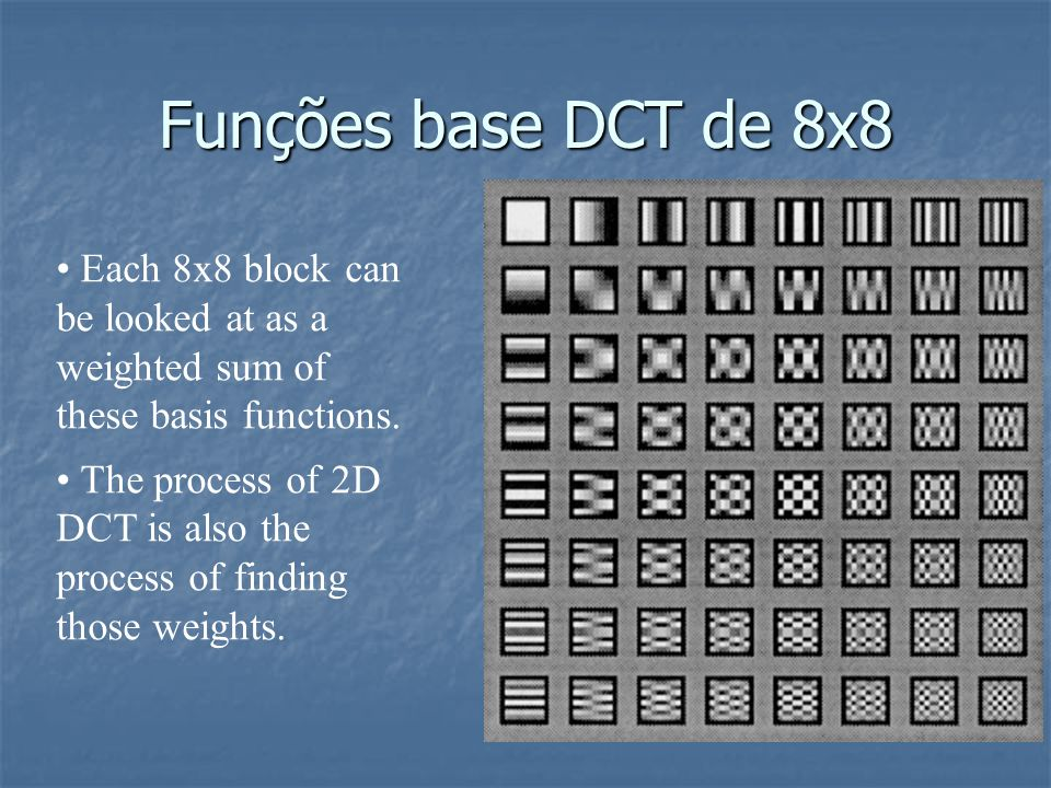 Funções base DCT de 8x8 Each 8x8 block can be looked at as a weighted sum of these basis functions.