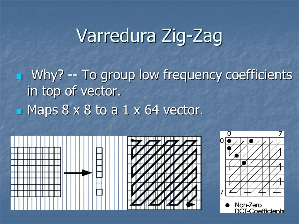 Varredura Zig-Zag Why. -- To group low frequency coefficients in top of vector.