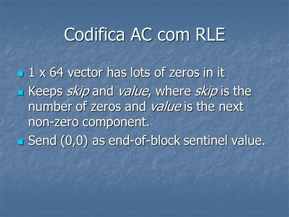 Codifica AC com RLE 1 x 64 vector has lots of zeros in it