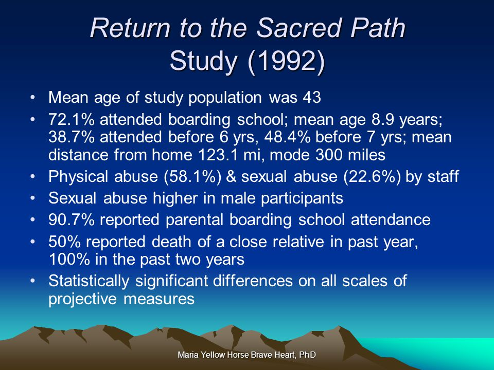 Return to the Sacred Path Study (1992)
