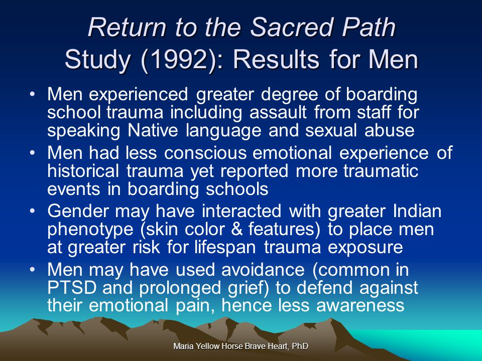 Return to the Sacred Path Study (1992): Results for Men