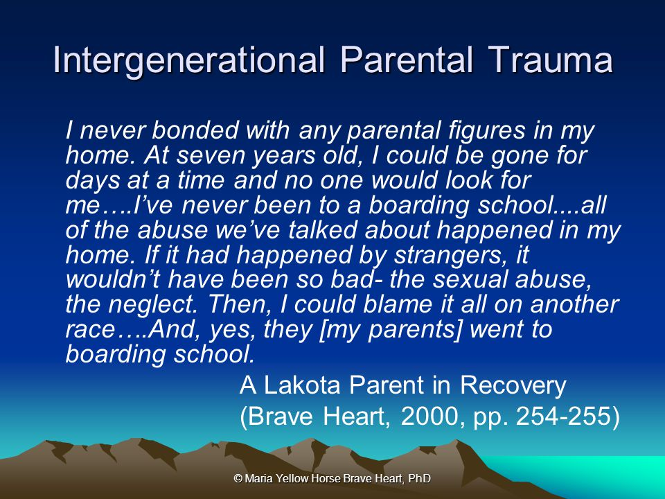 Intergenerational Parental Trauma
