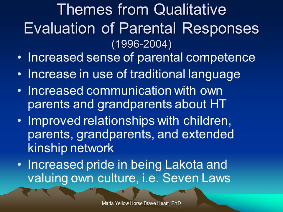 Themes from Qualitative Evaluation of Parental Responses (1996-2004)