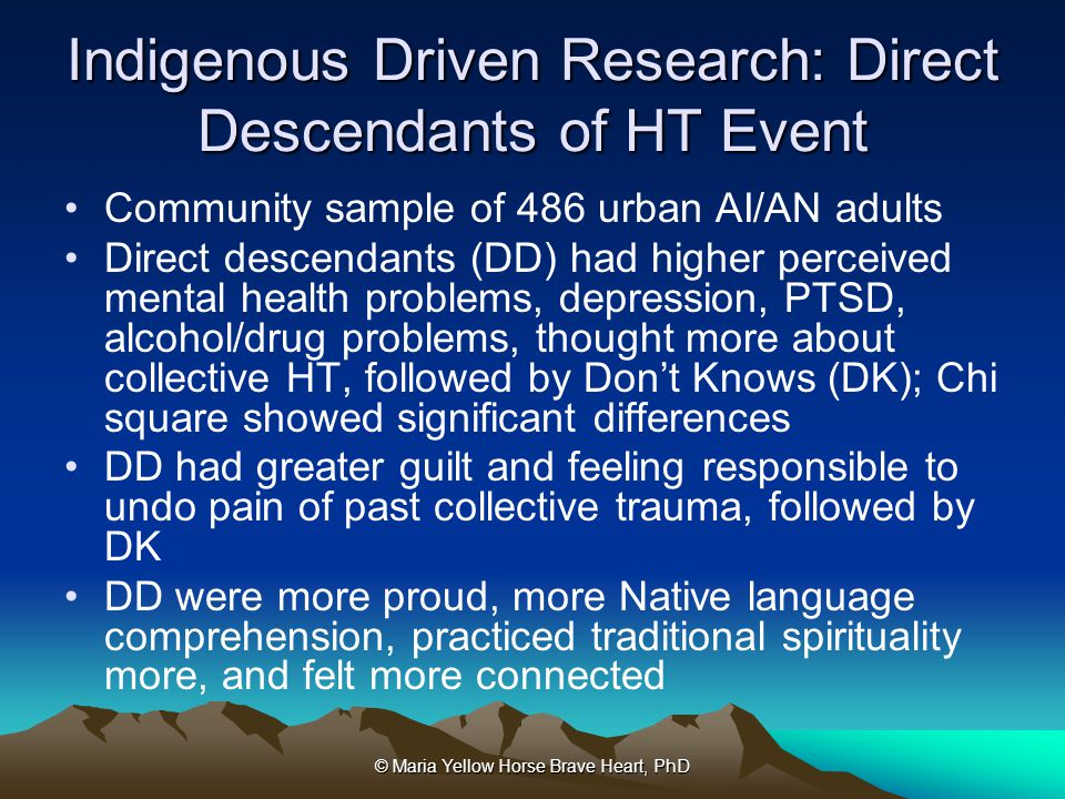 Indigenous Driven Research: Direct Descendants of HT Event