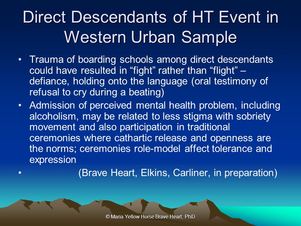 Direct Descendants of HT Event in Western Urban Sample