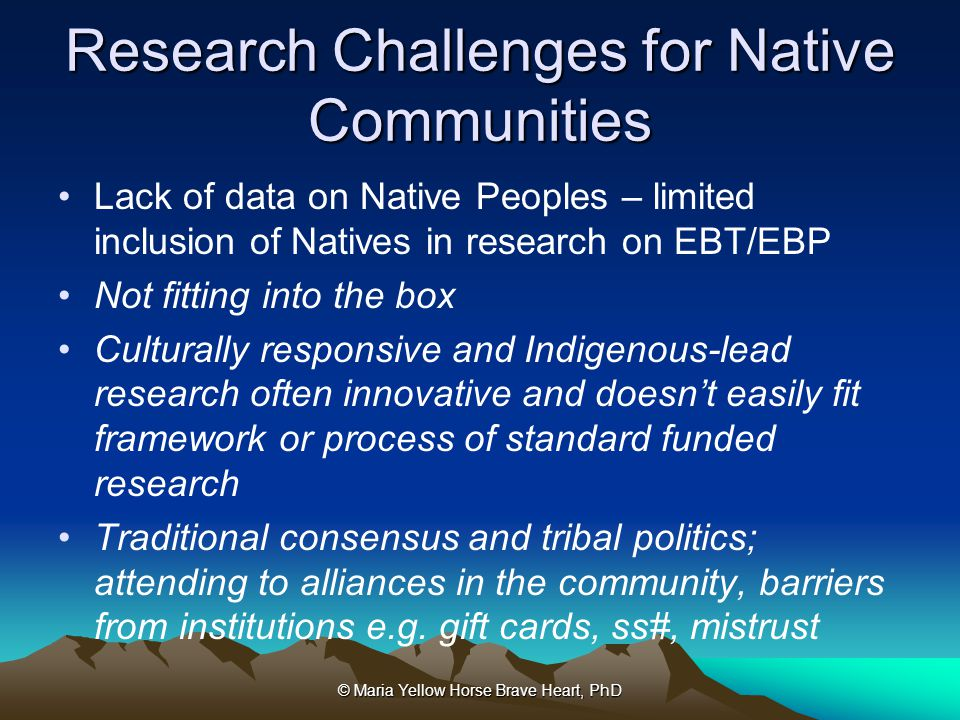 Research Challenges for Native Communities