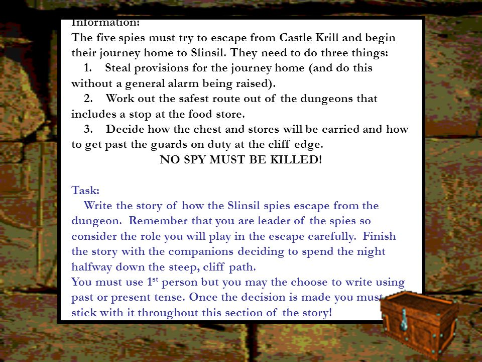 Information: The five spies must try to escape from Castle Krill and begin their journey home to Slinsil. They need to do three things: